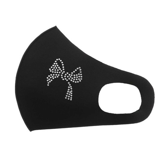 Zwart fashion mondmasker met strik versiering.