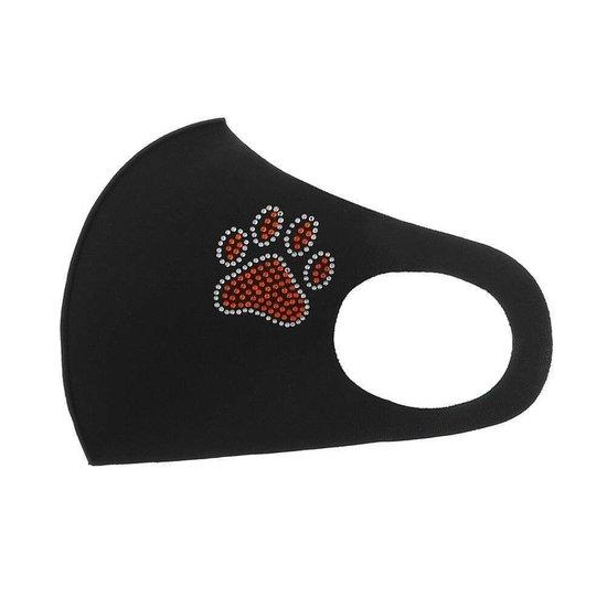 Zwart fashion mondmasker met pootafdruk.