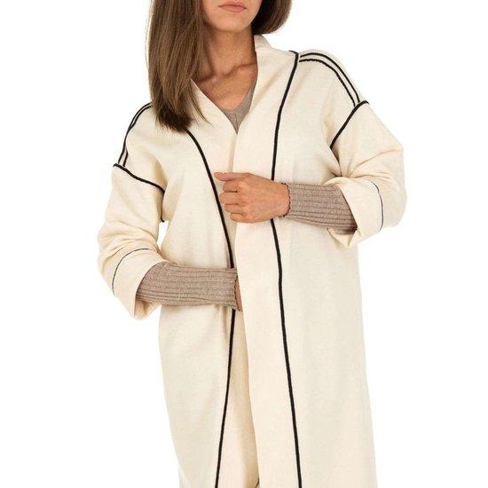 Cream oversized midi cardigan.