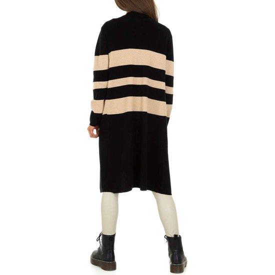 Trendy mixed colour midi cardigan.