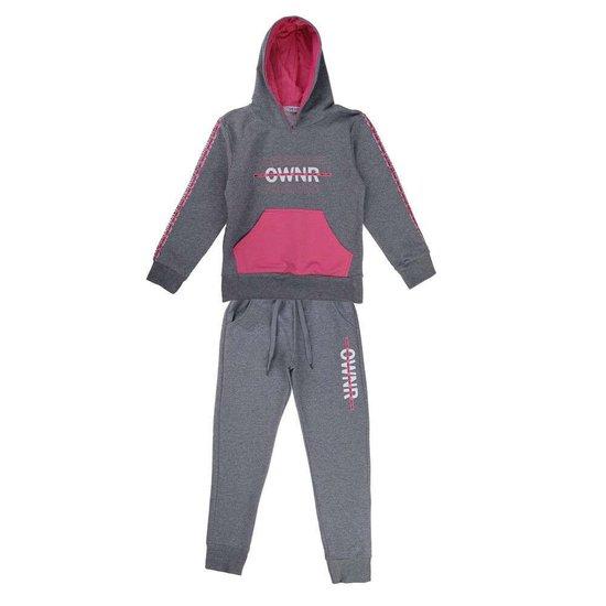 Sportieve grijs-roze meisjes jogging.