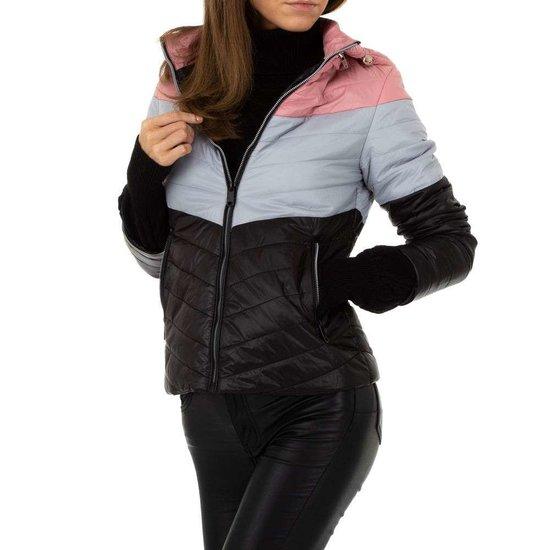 Zwart-grijze midseason jacket.