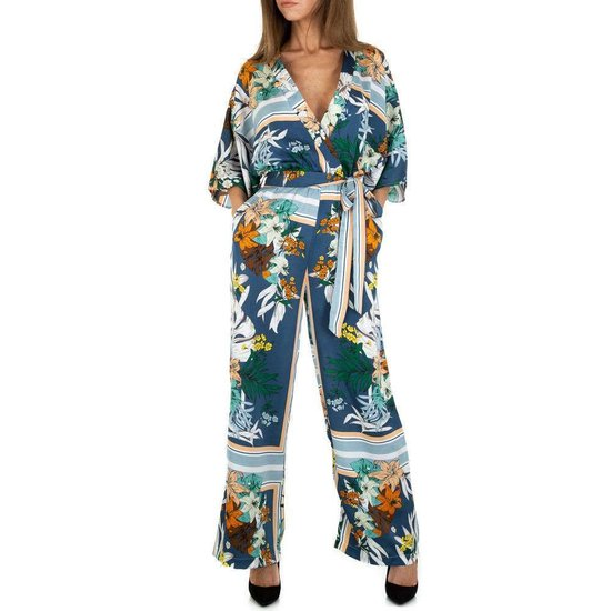 Multicolour blauwe jumpsuit.