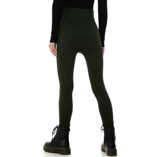 Trendy donker groene gevoerde thermo legging.