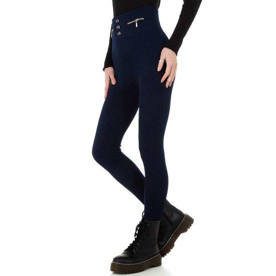 Trendy donker blauwe gevoerde thermo legging.
