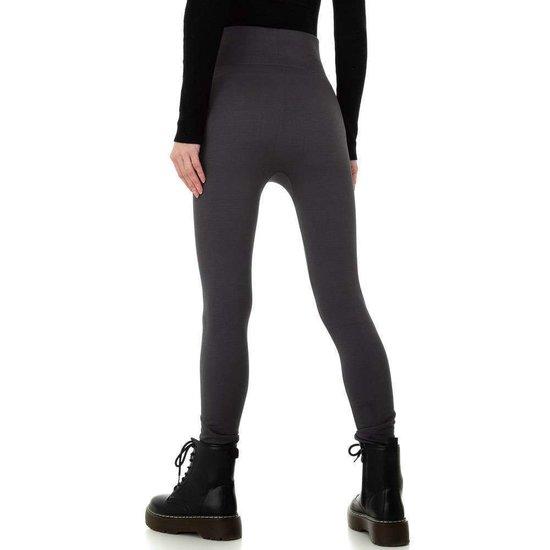 Trendy grijze gevoerde thermo legging.