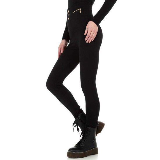 Trendy zwarte gevoerde thermo legging.