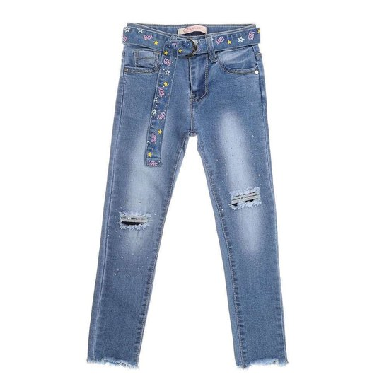 Blauwe meisjes jeans destroyed.