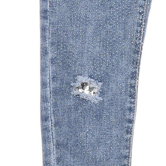 Licht blauwe meisjes jeans destroyed.