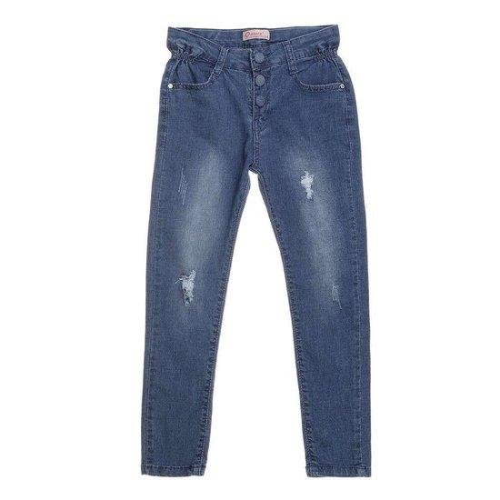 Hippe blauwe meisjes jeans destroyed.