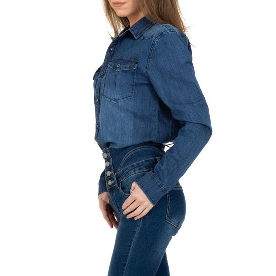 Hemdblouse in washed blue jeans