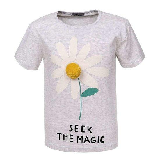 Grijze meisjes T-shirt met margariet bloem.
