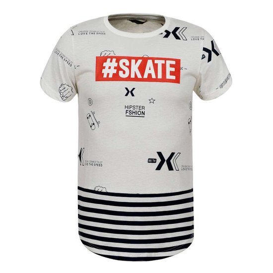 Witte jongens T-shirt met opschrift SKATE.