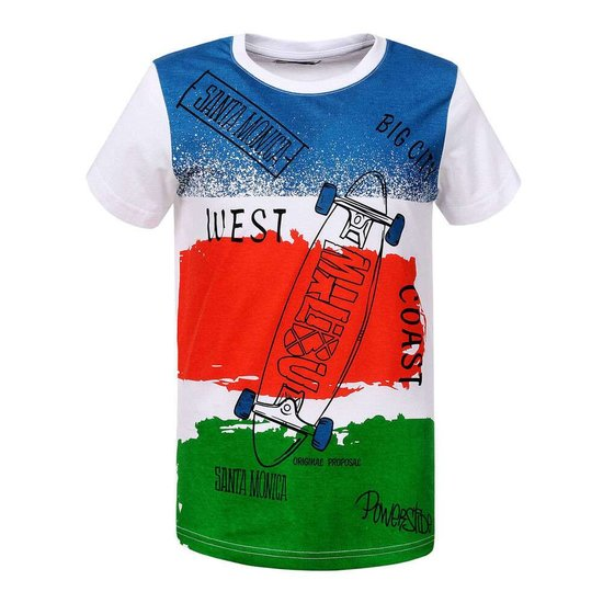 Blauw-rood-groene jongens T-shirt.