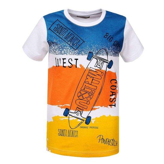 Blauw-oranje-gele jongens T-shirt.