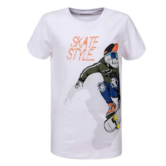Witte jongens T-shirt. SKATE STYLE