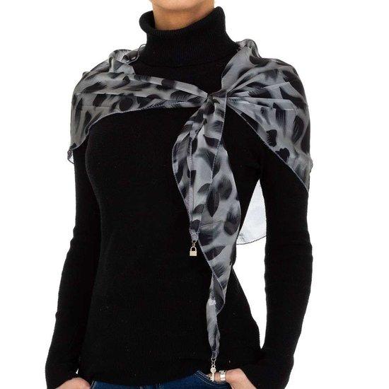 Modieuze grijze sjaal met dieren motief.