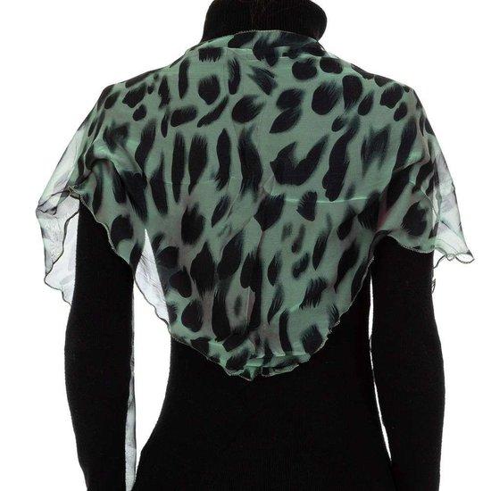 Modieuze groene sjaal met dieren motief.