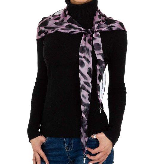 Modieuze lila sjaal met dieren motief.