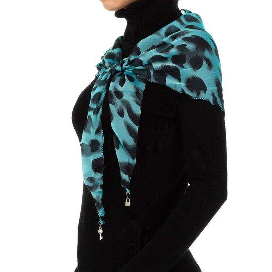 Modieuze turqouise sjaal met dieren motief.