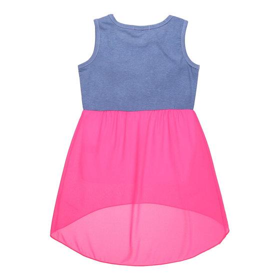 Fuchsia-blauwe meisjes jurk.
