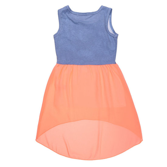 Koraal-blauwe meisjes jurk.