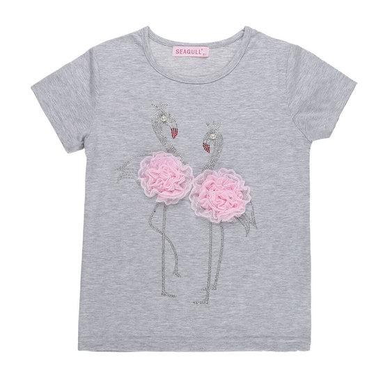 Grijze meisjes T-shirt met flamingo.