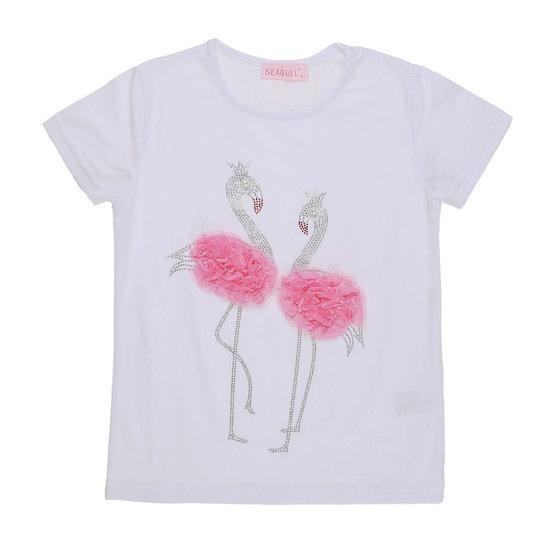 Witte meisjes T-shirt met flamingo.