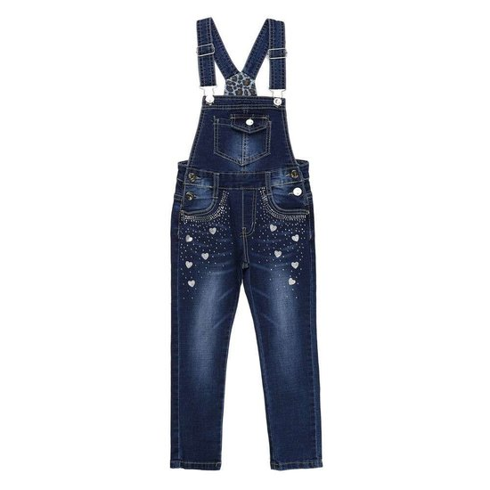 Meisjes jeans salopet met deco.