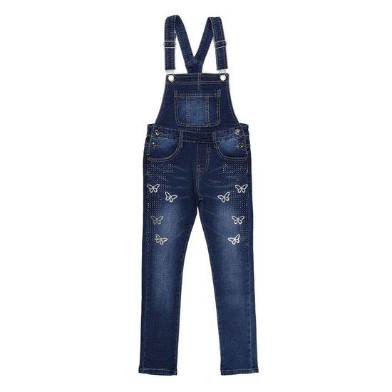 Meisjes jeans salopet met vlinder deco.