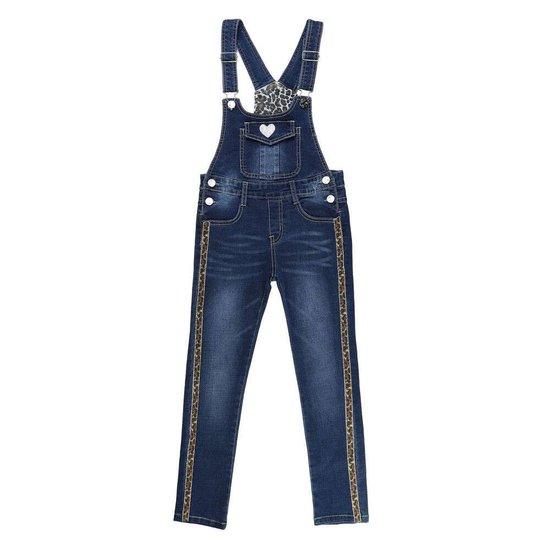 Meisjes jeans salopet met zijdelingse leopard streep.