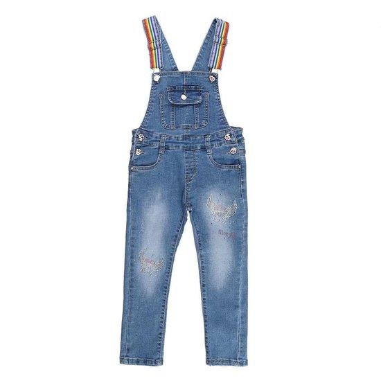 Meisjes jeans salopet met angel wings in strass.