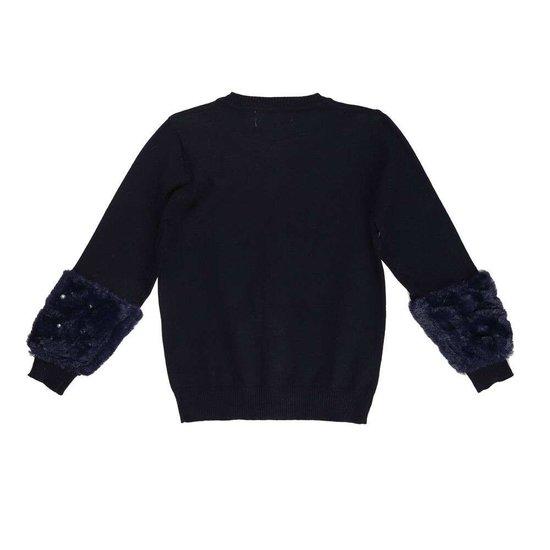 Trendy donker blauwe meisjes pullover.