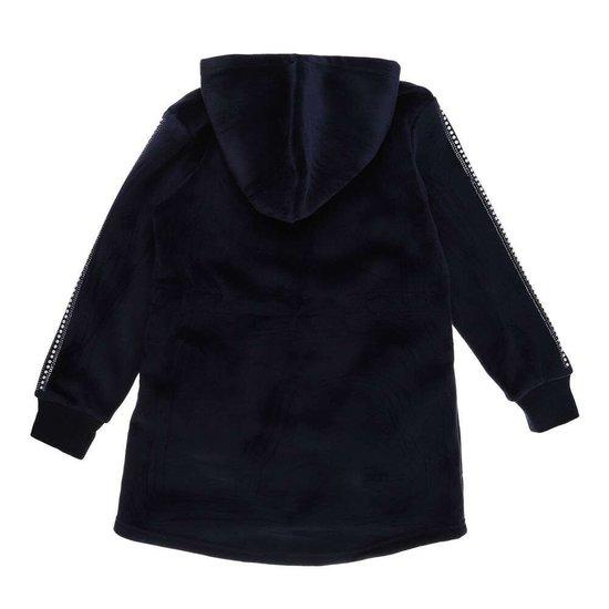 Donker blauwe meisjes jas in velours met motief.