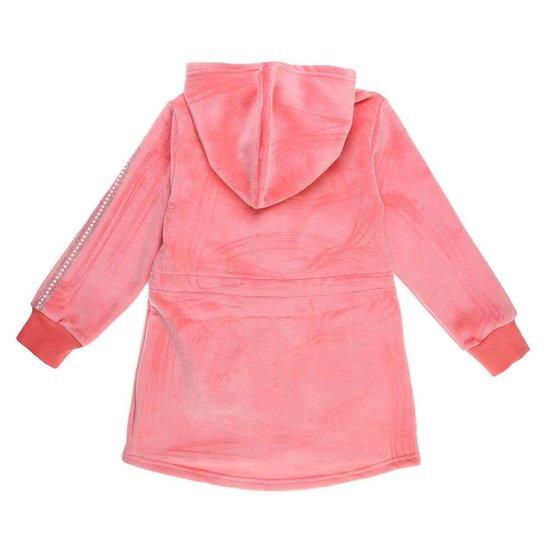 Rose meisjes jas met motief in velours.