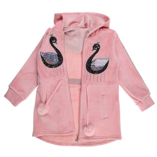Old rose meisjes jas met motief in velours.