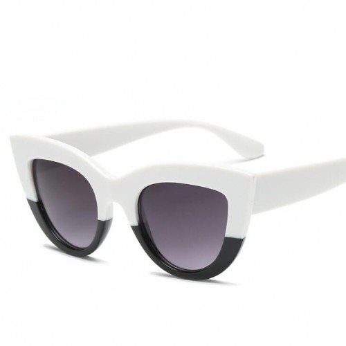 Witte zonnebril Cat Eye style.