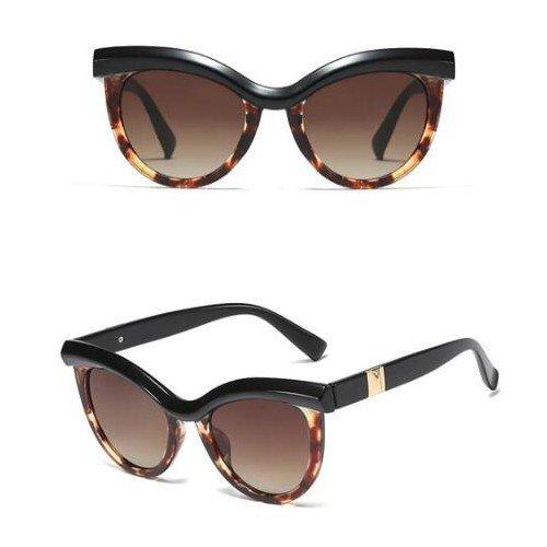 Trendy zwart-bruine zonnebril . Cat Eye style.