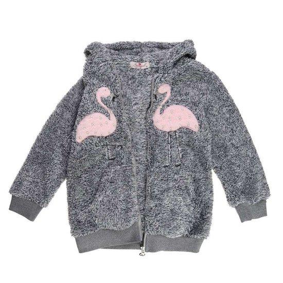 Grijze gemoltoneerde meisjes sweater met deco.