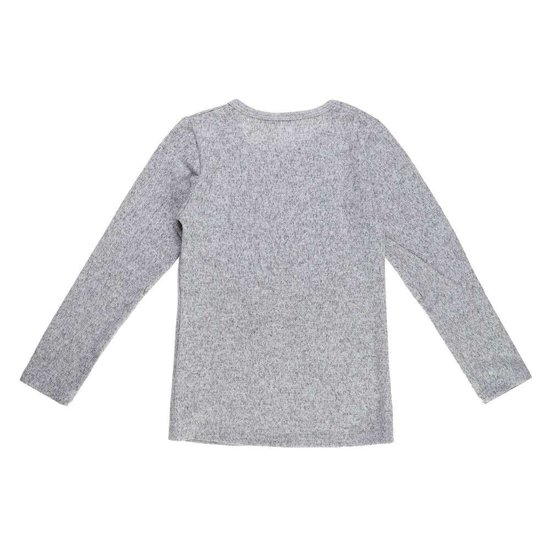 Grijze meisjes pullover met deco en opschrift.