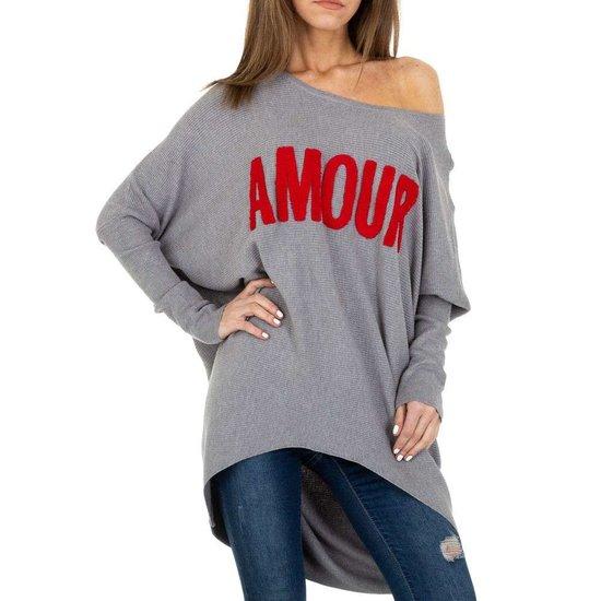 Trendy grijze long pullover met opschrift.