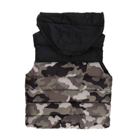 Army black gewatteerde jongens jas zonder mouwen.