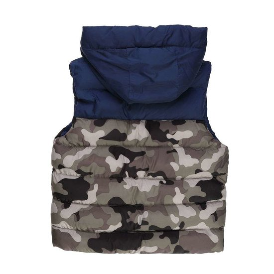 Army blue gewatteerde jongens jas zonder mouwen.