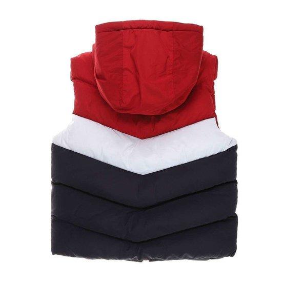 Rood-wit-blauwe gewatteerde jongens jas zonder mouwen.