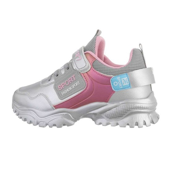 Trendy zilveren mix meisjes sneaker Stansie.