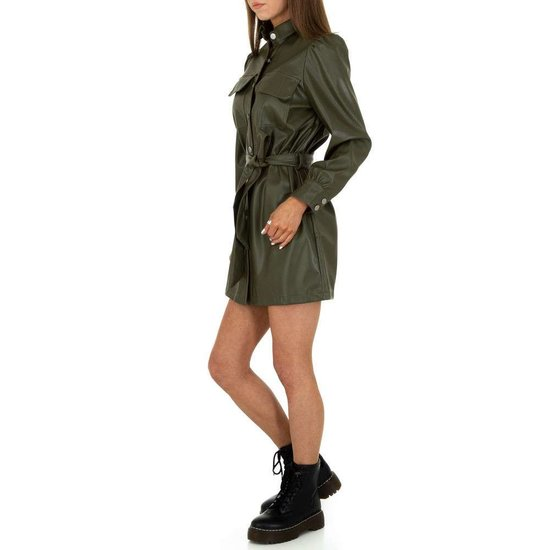 Originele groene mini jurk in leather look.