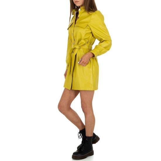 Originele gele mini jurk in leather look.