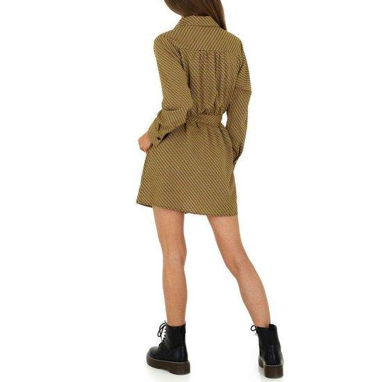Modieuze korte gele blouse jurk.