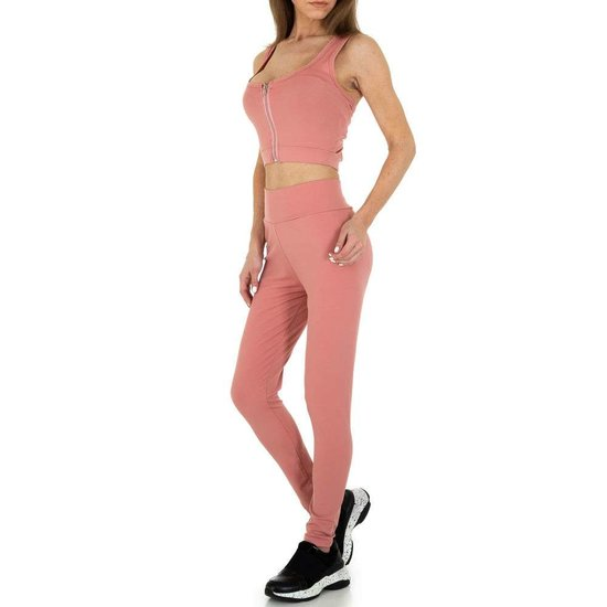 Rose 2 delige sportieve yoga outfit.