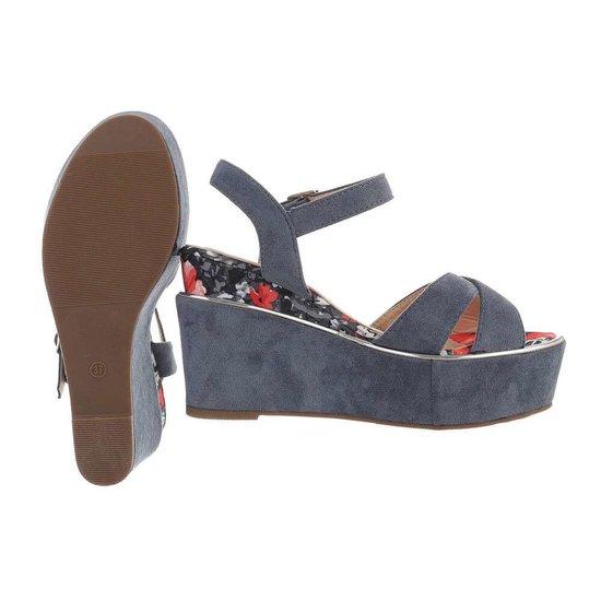 Blauwe hoge sandaal met sleehak Alberta.